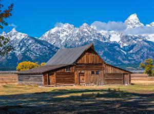 Картинки Штаты Горы Парк Дома Деревянный Grand Teton National Park Природа