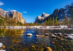 Обои Штаты Гора Парк Речка Камень Пейзаж Йосемити Дерево Калифорнии Снега Природа