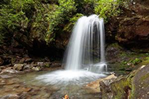 Фото Америка Парки Водопады Камни Мох Great Smoky Mountains National Park Природа