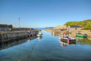 Обои Великобритания Лодки Набережная HDRI Antrim, Northern Ireland Природа