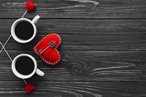 Обои День святого Валентина Кофе Доски Сердца Шаблон поздравительной открытки Ключом Продукты питания
