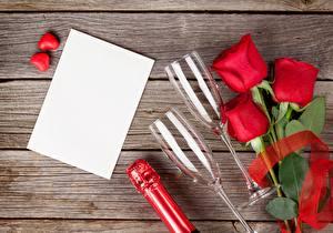 Фотография День всех влюблённых Роза Красных Шаблон поздравительной открытки Бокалы цветок