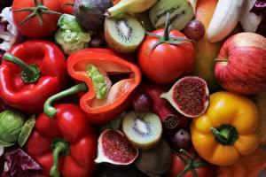 Картинки Овощи Перец Инжир Помидоры