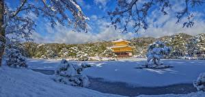 Картинка Зима Храмы Япония Киото Панорама Снег Kinkaku-JI, Rokuon-JI temple Природа