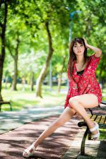 Картинка Азиаты Скамейка Сидит Ног Платье Смотрит