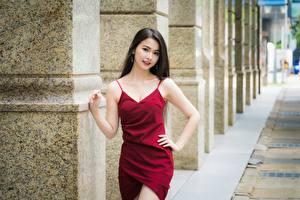 Картинка Азиатка Боке Брюнеток Позирует Руки Платья молодые женщины