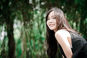 Фото Азиатка Боке Взгляд Улыбка Шатенка молодая женщина