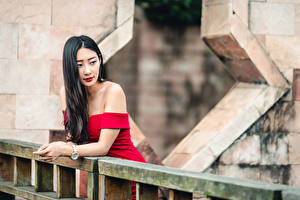 Обои Азиаты Брюнеток Платье Боке Девушки