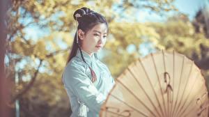 Фотография Азиатки Боке Брюнетки Зонтом Chinese девушка