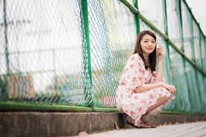 Картинки Азиаты Ограда Сидя Платья Взгляд Девушки