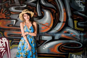 Фотографии Азиатка Граффити Платье Шляпа Коса Стена Девушки