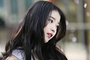 Картинки Азиатка Размытый фон Брюнеток Волос Lee Ji-eun, Korean Знаменитости Девушки