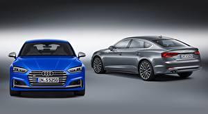 Обои Ауди Сером фоне 2 Синий Серый Спереди S5, Sportback, 2016, fastback Автомобили