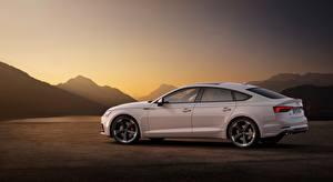 Фото Audi Белых Сбоку Седан S5, Sportback, TDI, 2019 автомобиль