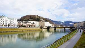 Фотографии Австрия Речка Мост Зальцбург город