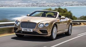 Фото Bentley Кабриолета Асфальта Движение Боке Continental GT Convertible, 2015 авто