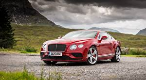 Обои для рабочего стола Бентли Роскошные Красный Купе Continental GT, Speed UK-spec, 2015 автомобиль