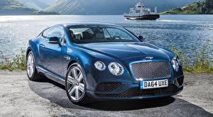 Картинки Бентли Синие Купе Люксовые Luxury, Continental. GT V8, 2015 Автомобили