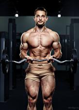 Картинки Бодибилдинг Мужчины Штанга Мускулы Смотрит Evgeniy Bulatov Спорт
