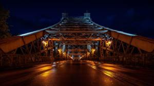 Картинки Мосты Дрезден Германия Ночные Loschwitz Bridge Города