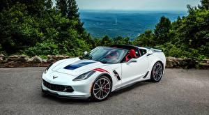 Фотография Chevrolet Белый Родстер C7 Corvette, Grand Sport, 2016 машины