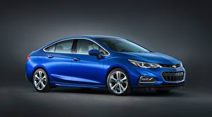 Обои Chevrolet Синяя Седан Сером фоне Cruze Premier, RS US-spec, 2016 Автомобили