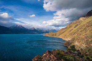 Фотографии Чили Гора Озеро Небо Облачно Lake Buenos Aires, Patagonia Природа