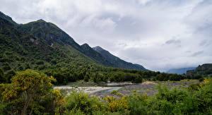 Фотография Чили Гора Речка Облачно Patagonia Природа