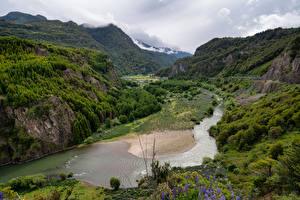 Фотографии Чили Гора Реки Облако Скала Patagonia Природа