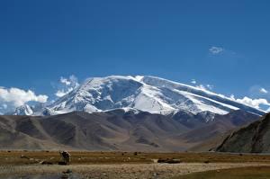 Картинки Китай Горы mount Muztagata, Xinjiang Uyghur Autonomous region Природа
