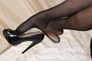 Фотографии Вблизи Ноги Туфлях Колготки Девушки