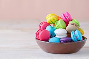 Картинки Печенье Разноцветные Макарон Миска Пища