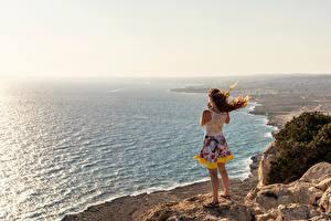 Картинки Республика Кипр Море Берег Скала Ветром Protaras Природа Девушки