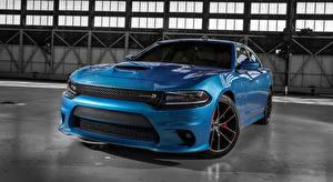 Фотография Dodge Спереди Металлик Седан Голубая Charger R/T, Scat Pack, 2015 машина