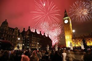 Картинка Англия Праздники Фейерверк Часы Лондон В ночи Башня Биг-Бен