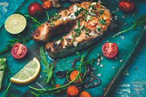 Фотографии Рыба Помидоры Лимоны Овощи Кусочек