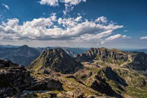 Картинка Франция Горы Небо Скалы Облака Gestièrs, Pyrenees