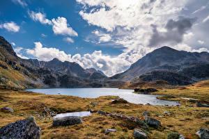Фото Франция Гора Камень Небо Облачно Aston, Pyrenees