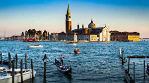 Фотографии Италия Лодки Собор Венеция San Giorgio Maggiore город