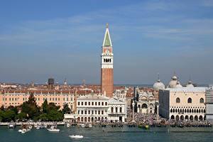 Картинки Италия Собор Катера Венеция St. Mark's Cathedral Города