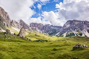 Фото Италия Гора Альп Облако Долина Траве Dolomite Alps, Bolzano Природа