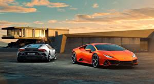 Картинки Lamborghini Двое Оранжевый Спереди Сзади Купе Huracan, EVO, 2019 авто