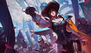 Обои League of Legends Шляпы Меч Fiora, swordsman компьютерная игра Девушки