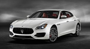 Картинки Maserati Белый Седан Quattroporte GTS, GranSport, US-spec, 2018, Luxury машина