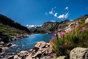 Картинки Горы Озеро Камень Андорра Pyrenees, Juclar Lake Природа