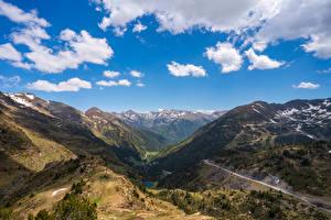 Фото Гора Небо Дороги Андорра Облачно Ordino Arcalís Природа