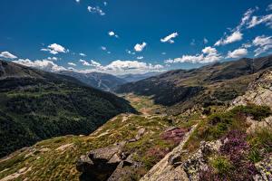 Фотографии Гора Камень Небо Андорра Облака Долина Pyrenees