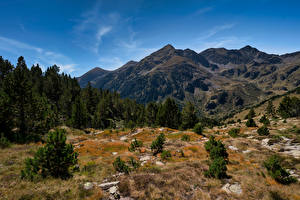Обои Гора Камни Небо Андорра Дерево Pyrenees