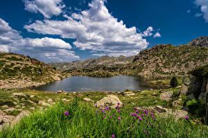Фотография Горы Камни Небо Озеро Облако Lakes Pessons, Andorra