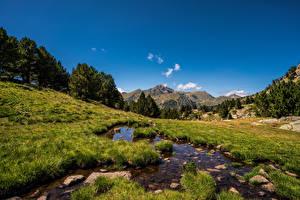 Фотография Гора Камни Небо Ручеек Траве Трава Ordino Природа
